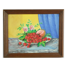 Consigned Painting Fruit Strawberries Wood French Vintage 1950 Signed Art