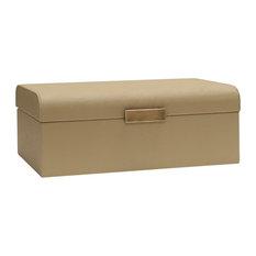 Worlds Away Mira Decorative Box, Beige Shagreen