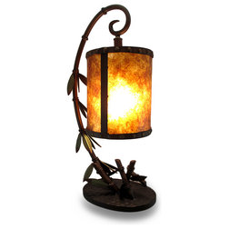 Amazing Traditional Table Lamps Leafy Bamboo Rustic Metal Hurricane Style Accent Lamp