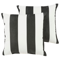 Cabana Sunbrella Outdoor Square Pillow Set of 2, Black and White, 18x18