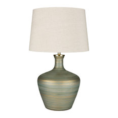 Surya Ollie Table Lamp With Aqua and Ivory and Emerald Finish OLL-001