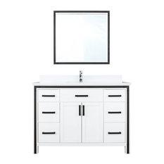 48-inch White Single Vanity Set Marble Top White Ceramic SQ UM Sink And 34-inch Mirror