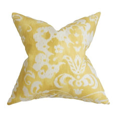 "Emese Floral Pillow, Yellow, 20""x20"""
