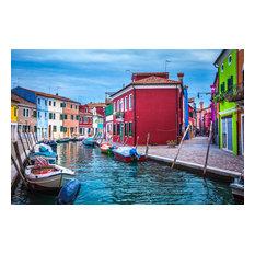 """Burano Canal Scene, Semi-Gloss, 12""""x8"""""""