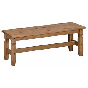 Traditional Bench in Solid Pine Wood, Great Resistance and Durability