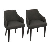 LumiSource Elliott Dining Chair, Set of 3, Espresso and Charcoal