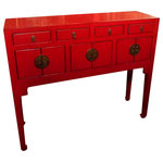 """Oriental Furnishings - Chinese Lacquer Lady Chest, 37""""x11"""", Red - This elegant, petite Chinese table is from northern China and is made of reclaimed lumber. We found these elmwood tables in a small family run factory hand made by local craftsmen. Lacquered in a rich matte red with hints of natural wood rub-through, this cabinet can be used for storage, a small writing desk or a make up table. Clean and simple lines it measures 37 1/2 x11 x 32"""" high. Works in a modern, rustic or cottage interior. Finished inside and out. At this price don't hesitate."""