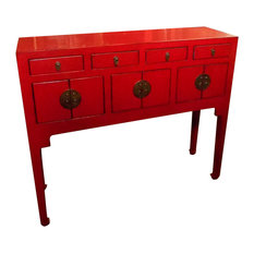 """Oriental Furnishings - Chinese Lacquer Lady Chest, 37""""x11"""", Red - Console Tables"""