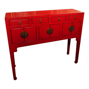 """Chinese Lacquer Lady Chest, 37""""x11"""", Red"""