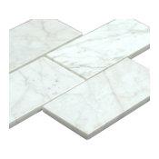 "3""x6"" Bianco Carrara Polished Marble Subway Tiles, Set of 240 tiles"