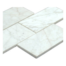 "3""x6"" Bianco Carrara Polished Marble Subway Tiles, Set of 8"