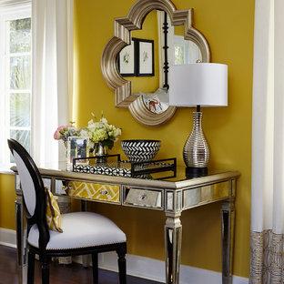Bedroom - mid-sized transitional master dark wood floor bedroom idea in Miami with yellow walls