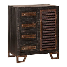 Aeris - Bridgewater 4-Drawer 1-Door Cabinet With Chicken Wire, Black - Accent Chests and Cabinets
