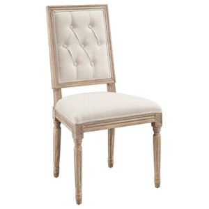 Avalon Tufted Square Back Dining Chairs, Set of 2, Linen