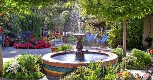 Mediterranean Style Courtyard Garden With: Spanish Fountain