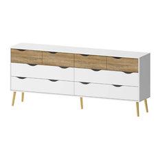 Diana 8-Drawer Dresser, White/Oak Structure