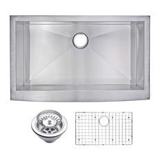 Zero Radius Single Bowl Apron Front Sink With Drain, Strainer, And Bottom Grid