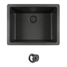 Dual-mount Single Bowl Quartz Kitchen Sink, Black, Colored Flange