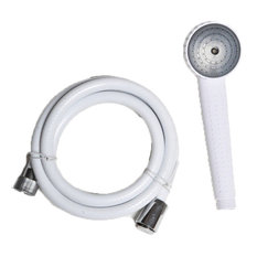 Hand Held Shower Head Set With White PVC Hose and Wall Mounted Holder