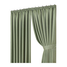 Tape Top Curtains With Tiebacks, Soft Green, 117x138 cm, 4-Piece Set