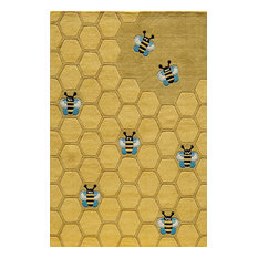 Lil Mo Whimsy Polyester, Hand-Tufted Rug, Honey Comb Gold, 5'x7'
