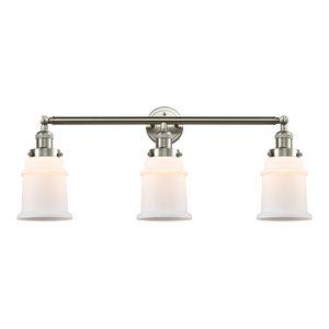 Canton 3-Light Bath Vanity-Light, Brushed Satin Nickel, Matte White