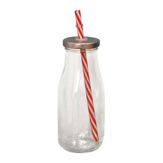 Fallen Fruits Vintage Retro Glass Bottle With Straw