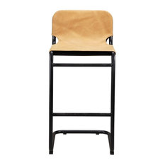 19-inch W Set Of 2 Floating Bar Stool Tan Top Grain Leather Black Iron Frame