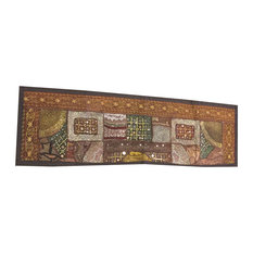 Mogul Interior - Consigned Antique Fabric, Brown Sari Banjara Embroidered Tapestry - Tapestries