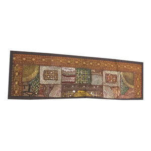Mogul Interior - Consigned Antique Fabric, Brown Sari Banjara Embroidered Tapestry - Table Runners