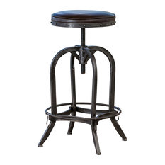 GDFStudio   Dempsey Leather Stool, Brown   Bar Stools And Counter Stools