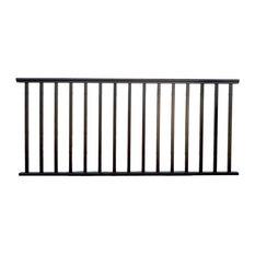 """Contractor Deck Railing 6'x36"""" Aluminum Residential Railing, H Black"""