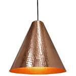 SoLuna Copper - Copper Cone Pendant Light in Polished Copper - Our sophisticated hand hammered Polished Copper Cone Pendant Light by SoLuna adds clean geometry and refined beauty to any space. This unique metal cone pendant light has a lightly hammered interior that reflects light with an inviting glow. Hang one above a cozy reading chair, two in the bedroom over the nightstands or three above a kitchen island. This elegant hand hammered copper pendant light will compliment most any décor. The hanging height of each pendant can be adjusted individually up to 6 ft.