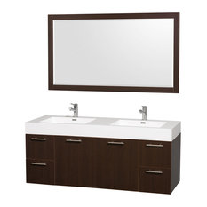 "60"" Double Vanity, Espresso, Acrylic Resin Top, Integrated Sinks, 58"" Mirror"