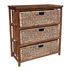Kona Open Sided Bamboo Storage Cabinet With 3 Hyacinth Baskets