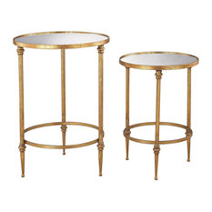 Sterling Alcazar Accent Tables, Antique Gold and Mirror, Set of 2