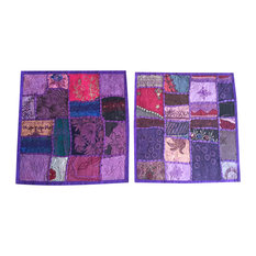 Mogulinterior - Mogul Sofa Cushion Covers Embroidered Patchwork Purple Bohemian Pillow Cases - Pillowcases and Shams