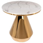 Statements by J - Gigi Marble Top Dining Bistro Table - Modern dining table made of stainless steel. It is a statement piece that would be a great addition to any home.
