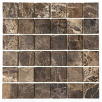 Tilesbay - Honed Emperador Dark Marble Tile, 50-Pieces - Emperador Dark 2x2 honed Marble Tile is rich with deep and mid-tone browns with white and ivory veins. This gorgeous marble is recommended for use in residential and commercial projects including floors and wall features.