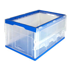 Mount-It! Collapsible Storage Crate, Plastic Container With Lid, 65L Capacity