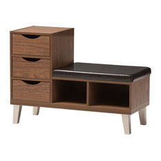 Arielle Padded Leatherette 3-Drawer Seating Bench With Shoe Storage