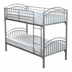 Consigned Single Bunk Bed, Silver Finished Metal With Side Secured Ladder