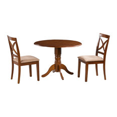3-Piece 42-inch Burlington Drop Leaf Dining Brown Table And Chair Sets Microfiber