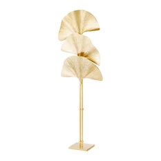 "Brass Floor Lamp, Eichholtz Las Palmas, Gold, 27""x27""x78"""