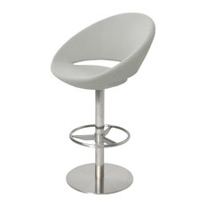 Crescent Swivel Stools Stainless Steel Base Silver Camira Wool