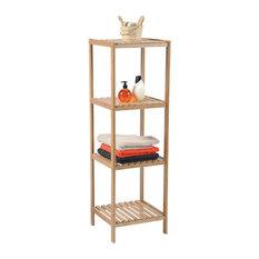 "Bathroom Rack Tower 4 Shelves Bamboo Tower Shelving 43.3""x13.4""x13"""