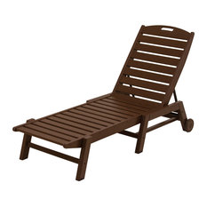 Polywood Nautical Chaise With Wheels, Mahogany