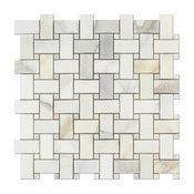 """1""""x2"""" Calacatta Gold Marble Basketweave Mosiac Tile with Gold Dots, Polished"""