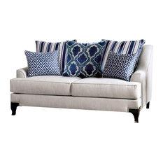 Furniture Of America Allyson Chenille Love Seat In Light Gray