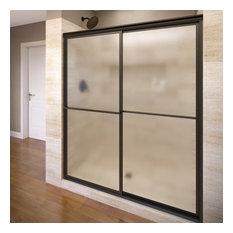 "Deluxe Framed Sliding Shower Door, Fits 45-47"", Oil Rubbed Bronze, Obscure"